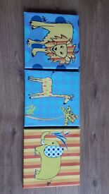 Nursery animal canvas pictures