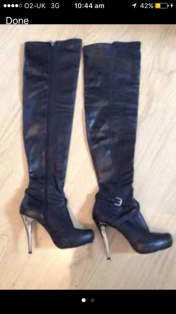 River island leather thigh high boots