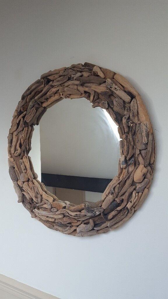 Gorgeous Large Round Handmade Driftwood Mirror