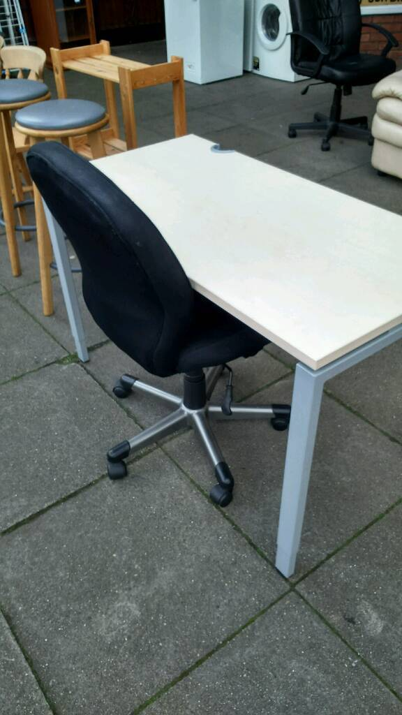 Desk and swivel chairin Sale, ManchesterGumtree - Desk and swivel chair in very good condition no damage very clean quality the desk is 47 inches wide 24 inches deep and 29 inches high however the hight is adjustable quality desk and chair 40 pounds the pair