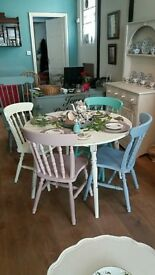 Chalk painted Table and 4 Chairs Pastel Ice Cream Colours
