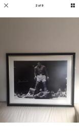 EXTREMELY RARE ICONIC 1.2m x 0.75m signed framed photo of Mohammed Ali