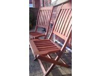 Garden chairs, two hardwood good condition not used much