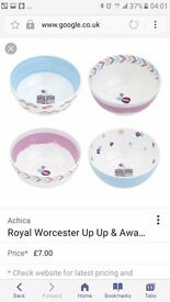 WANTED SET OF 4 ROYAL WORCESTER UP UP AND AWAY BOWLS