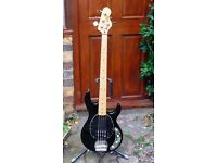 VINTAGE Reissue V964 Active Electric Bass Guitar in Black - 4 String Bass