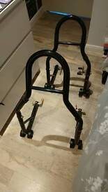 Motorbike stands front and back