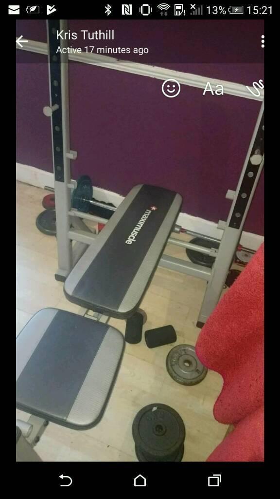 Bench squat rack c/w 80 kilo discs+bar