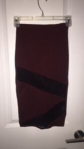 Maroon and black pencil skirt from Sirens