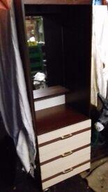 Bedroom furniture set ..4 items .. wardrobe drawers side table not bed solid pine dresser ect