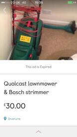 Qualcast lawnmower and Bosch strimmer