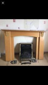 WOOD FIRE SURROUND AND ELECTRIC FIRE