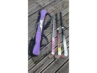 3 girls hockey sticks & bag