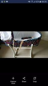 Star wars moses basket and roxking stand. With mattress and sheets. Excellent condition
