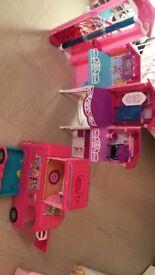 Barbie dream house and pop up camper van