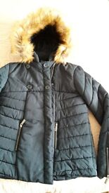 £65 NEW Hooded padded coat - Emerald green, size S/10