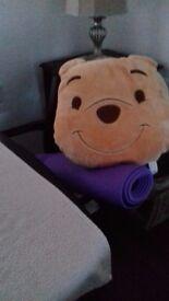 yoga mat and cushion
