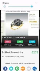 9ct black diamond 1ct cluster ring