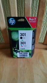 GENUINE HP 2 PACK 301 BLACK & TRI COLOUR DESKJET INK CARTRIDGE.