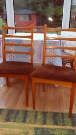 3 solid pine wood dinning chairs for sale