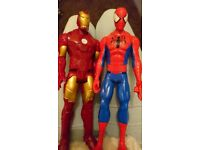 Spiderman and iron man 12inch figures