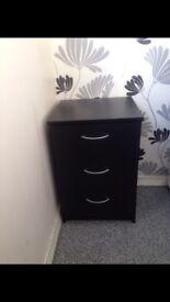 NEW Black High Gloss 3 Drawer Bedside Cabinet