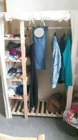 Canvas and wooden wardrobe
