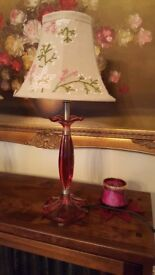 Lovely Laura Ashley Plum/Pink Lamp Base And Light Shade