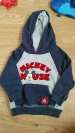 Baby boys mickey mouse hooded jumper 9-12 months