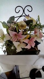 Marks and spencer fake floral arrangement in metal stand