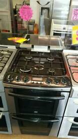 ZANUSSI 55CM GAS DOUBLE OVEN COOKER IN SILVER