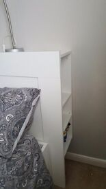 Ikea double bed with 4 drawers and storage headboard whie wood