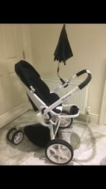 Quinny modd pram with carry cot. Includes all adaptors, rain covers mosquito net and cosy inserts.