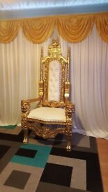 2 king and queen throne chairs and back drop curtains and stand