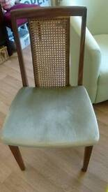 Vintage bergere cane back chair, G Plan, with green seat, c1970s