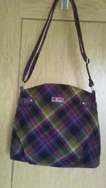 Tartan Ness bag. extendable shoulder strap. unusual colours mainly purple and green