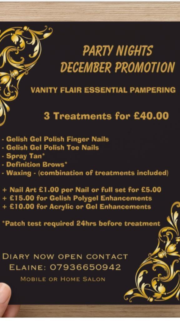 3 treatments for £40 Pamper party nights December promotion