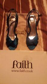 Teal satin shoes size 6 by Faith