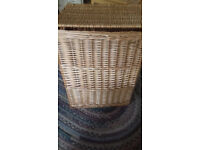 Spacious wicker laundry storage basket