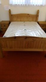 Pine double bed with new mattress