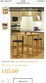 Drop leaf 2 seater breakfast table and chairs set