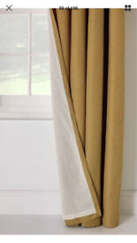Gold ochre Coloured Curtains 66x72 BN and 4 50x50 Ochre Cushion Covers (NEW)