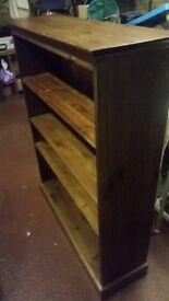 Pine 4 shelf dark stain book case