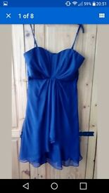 STUNNING COAST 100% PURE SILK NAVY FULLY LINED BRIDESMAID OR COCKTAIL DRESS SIZE 14
