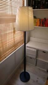 Floor Lamp, wooden, navy blue chalk paint & fabric shade