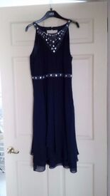 Monsoon navy dress - size 16 - brand new