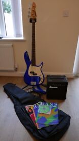 Peavey Bass Guitar Set incl. Stand, Ibanez Amp, Leads, Case and Music