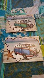 2 wooden vw pictures
