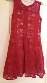 Girls red lace skater style dress age 11