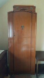 antique mid century wooden wardrobe