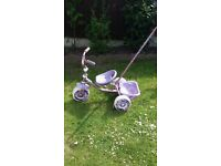 Girls trike with removable parent handle